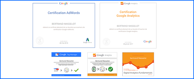 certificats et diplômes webanalytics, Google Analytics, Google Tag Manager et Google ADwords Bertrand Masselot
