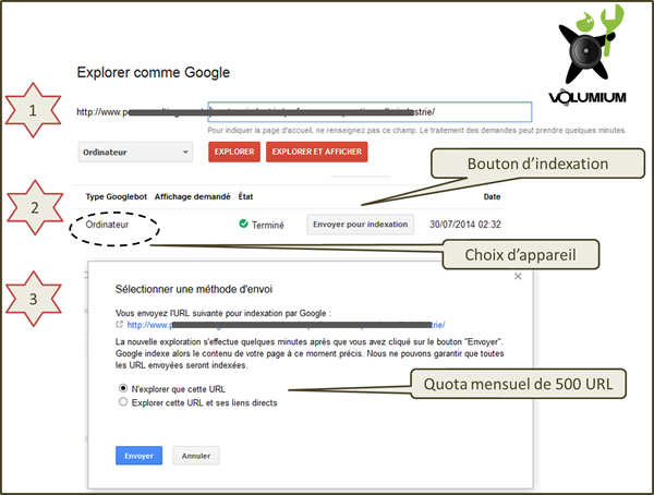 indexation instantanée dans google webmaster tools