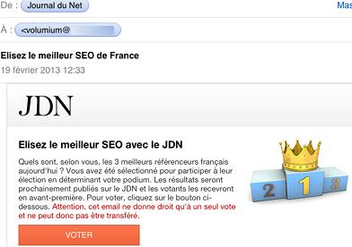 mail de vote meilleur SEO JDN